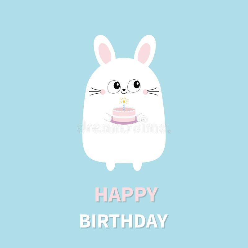 Feliz aniversario Bolo branco da terra arrendada do coelho de coelho com vela Cara principal engraçada Olhos grandes Personagem d ilustração royalty free