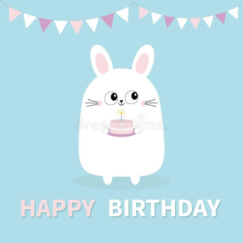 Feliz aniversario Bolo branco da terra arrendada do coelho de coelho, vela Suspensão de papel das bandeiras Cara principal engraç ilustração stock