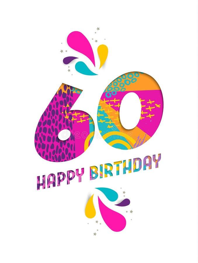 Feliz aniversario cartão do corte do papel de 60 anos ilustração royalty free