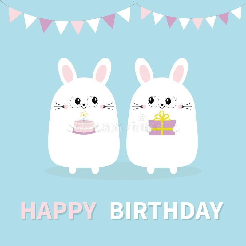 Feliz aniversario Coelho de coelho branco que guarda a caixa de presente, bolo Bandeiras de papel Cara principal engraçada Olhos  ilustração royalty free
