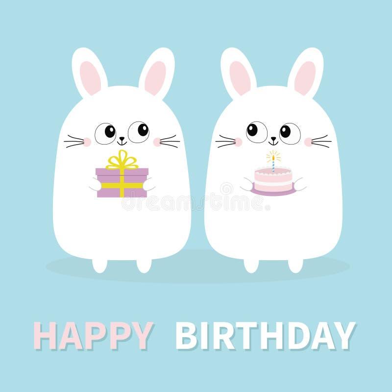Feliz aniversario Coelho de coelho branco que guarda a caixa de presente, bolo Cara principal engraçada Olhos grandes Personagem  ilustração do vetor