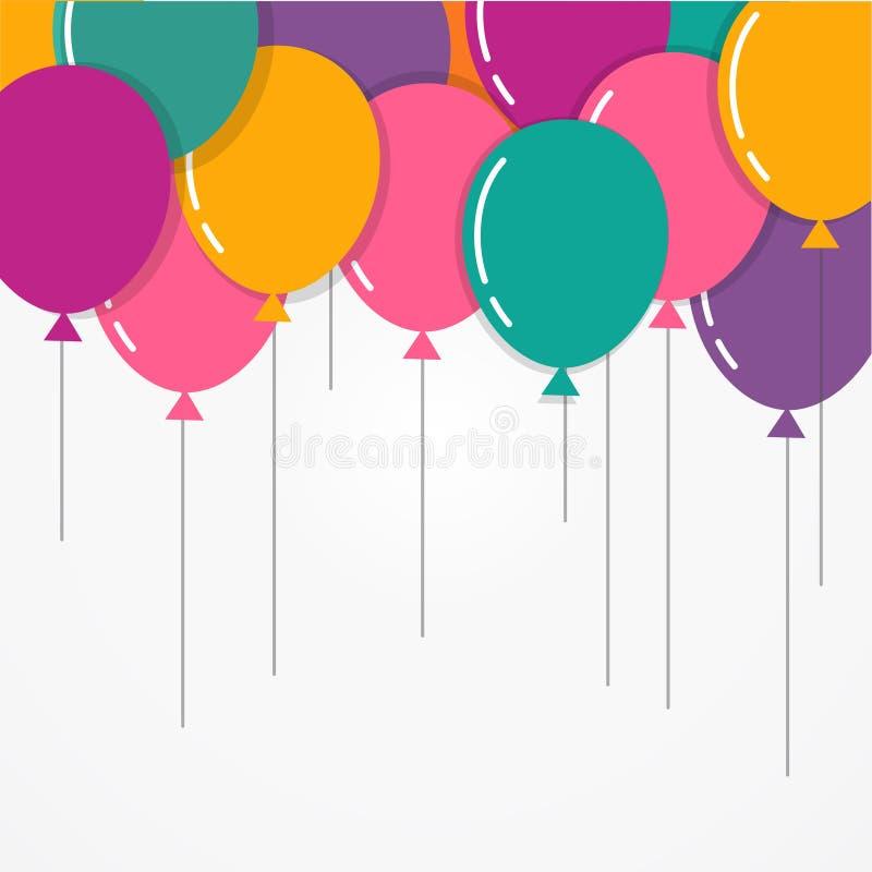 Feliz aniversario colorido com balões, cartaz, cartão ilustração do vetor