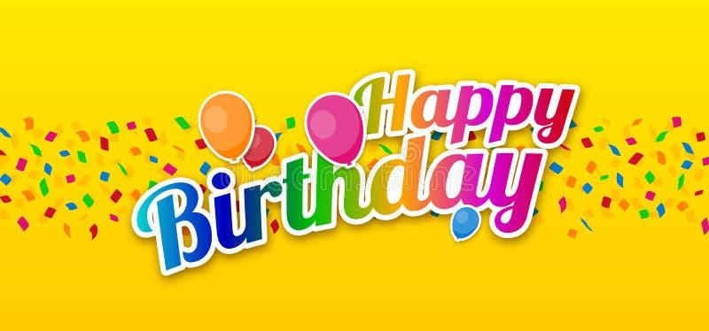 Feliz aniversario colorido com confetes e balões ilustração do vetor