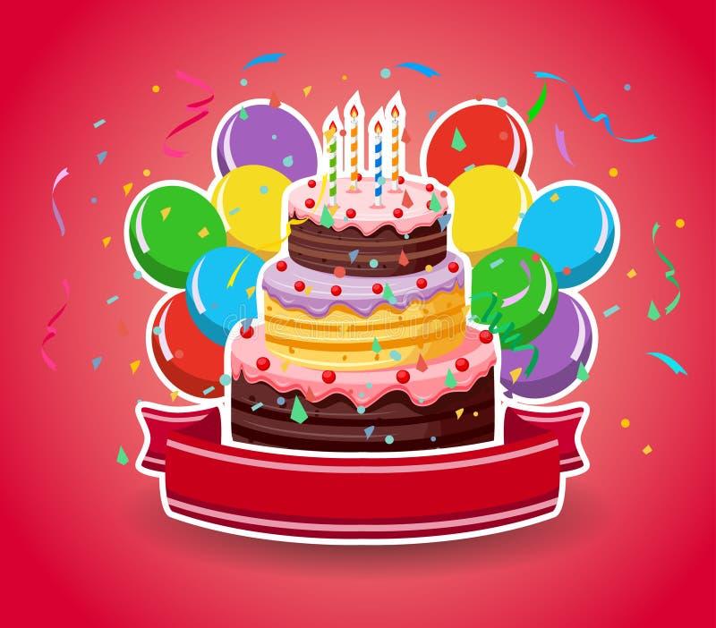Feliz aniversario com balões ilustração royalty free