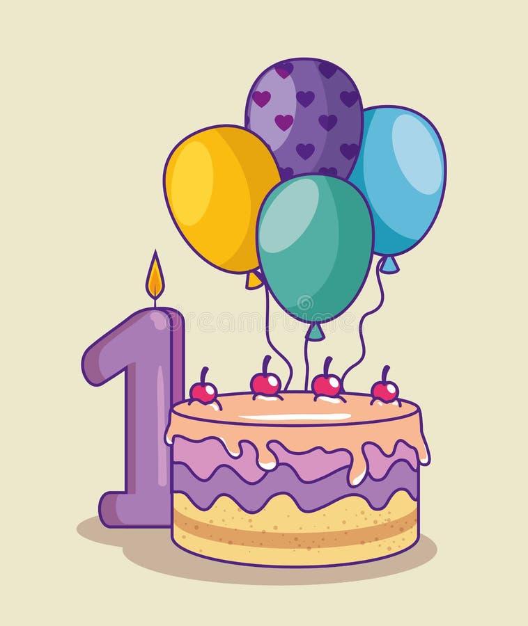 Feliz aniversario com bolo e canbe com número um ilustração do vetor