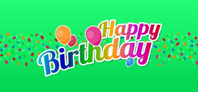Feliz aniversario com confetes e balões ilustração stock