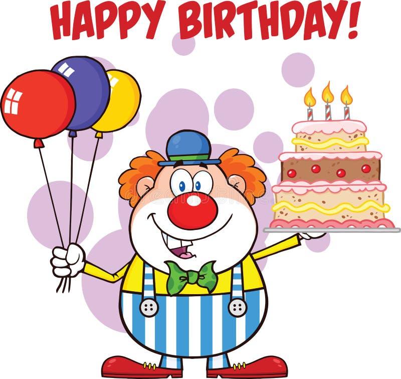 Feliz aniversario com os balões e o bolo de Cartoon Character With do palhaço com velas ilustração stock