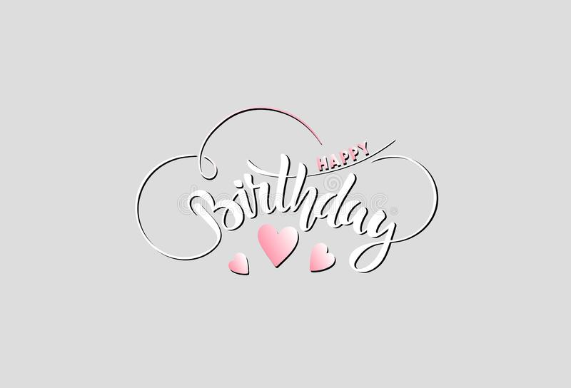 Feliz aniversario congratulation lettering ilustração do vetor
