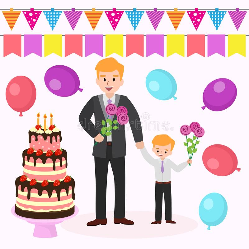 Feliz aniversario da mamã s Partido da fam?lia A ilustração lisa dos desenhos animados do vetor do pai e do filho com as flores p ilustração stock