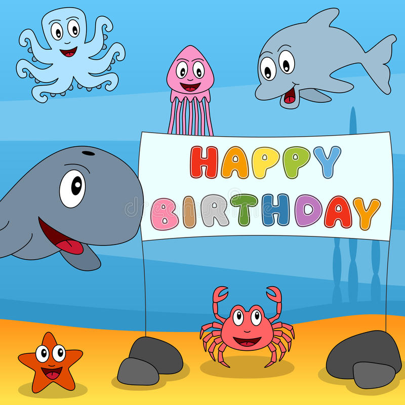 Feliz aniversario de animais marinhos ilustração stock