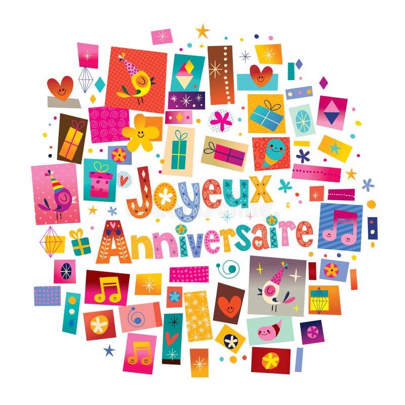 Feliz aniversario de Joyeux Anniversaire em francês ilustração stock
