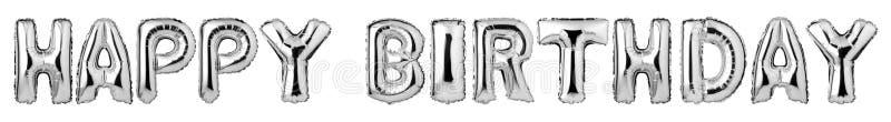 FELIZ ANIVERSARIO de letras de caixa dos balões de prata ilustração royalty free