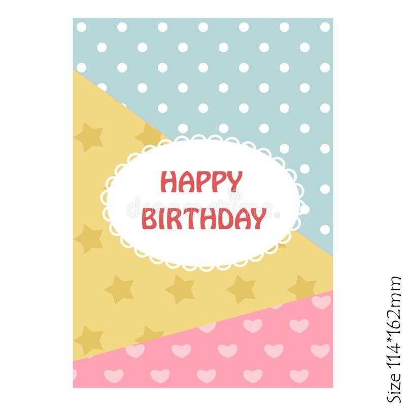 Feliz aniversario do cartão bonito Convite do vetor com uma colagem bonita da foto ilustração do vetor