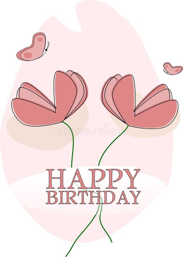 Feliz aniversario do cartão com flores ilustração royalty free