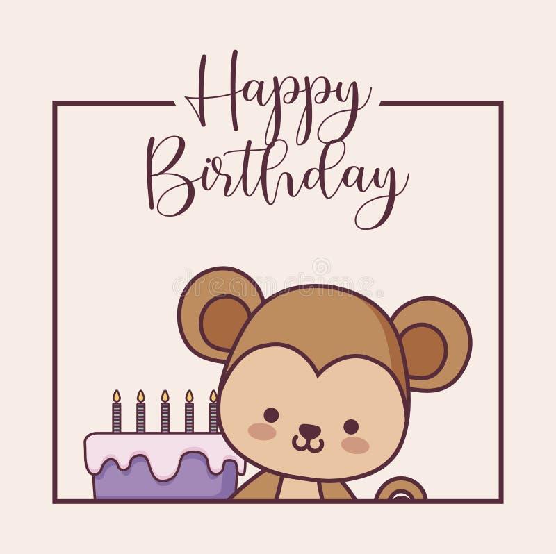 Feliz aniversario do macaco bonito ilustração royalty free