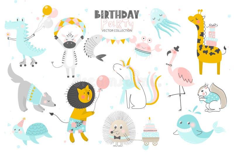 Feliz aniversario Estilo tirado dos animais mão bonito Coleção do vetor ilustração royalty free