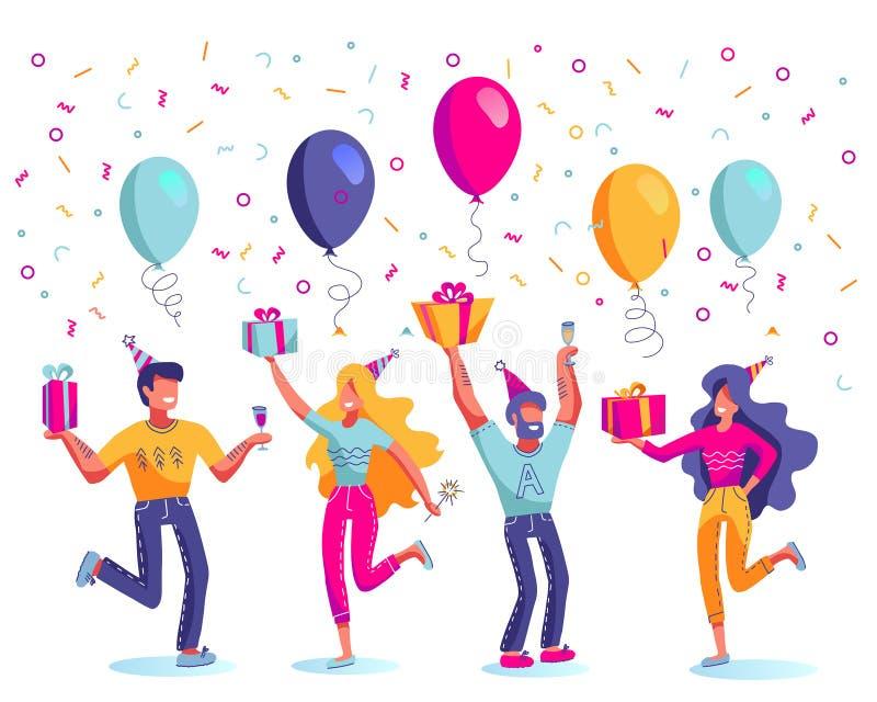 Feliz aniversario, homens e mulheres no vetor festivo dos chap?us Caixas de presente ou presentes, balões, champanhe e chuveirinh ilustração stock