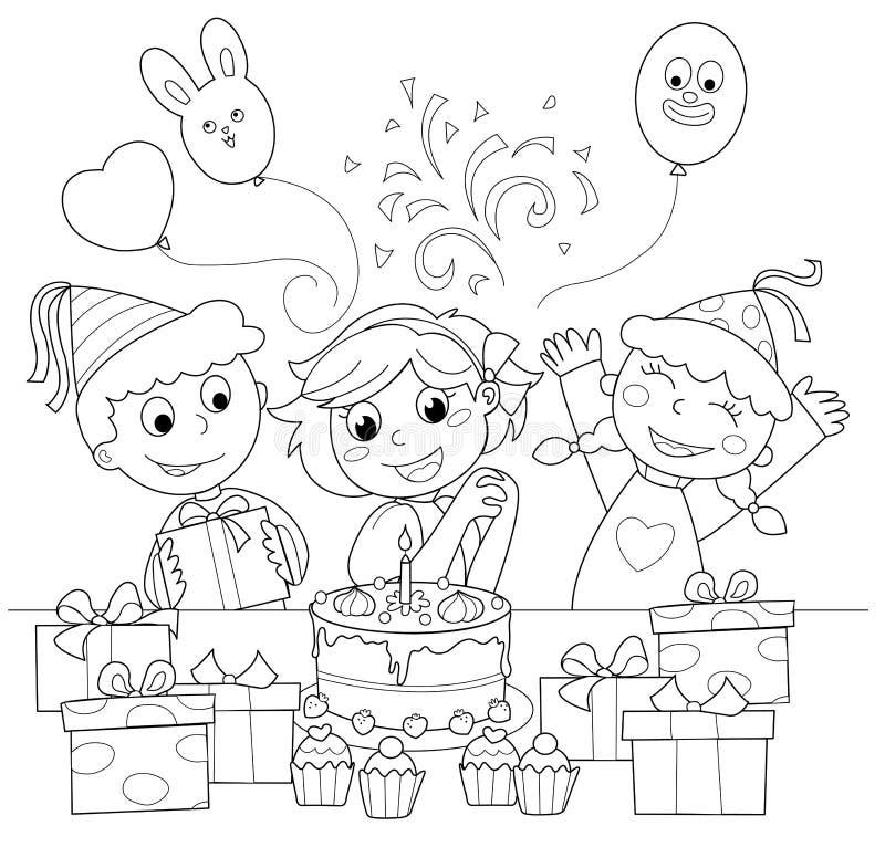 Feliz aniversario! Ilustração de coloração