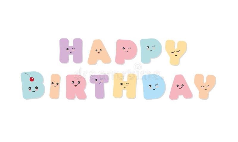 Feliz aniversario Letras coloridas corajosas de Kawaii Emoticons bonitos das etiquetas ilustração royalty free