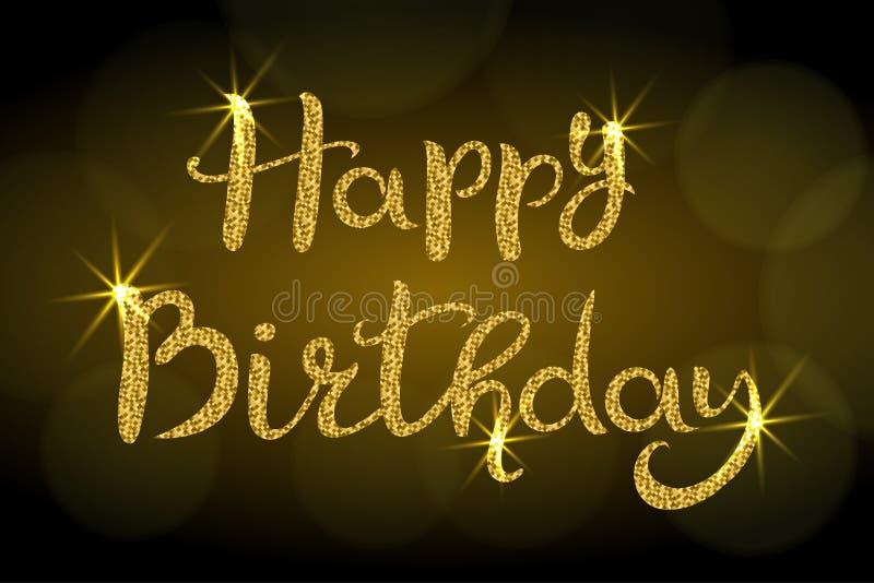 Feliz aniversario lettering Inscri??o tirada m?o com brilho dourado Fundo escuro com bokeh ilustração stock