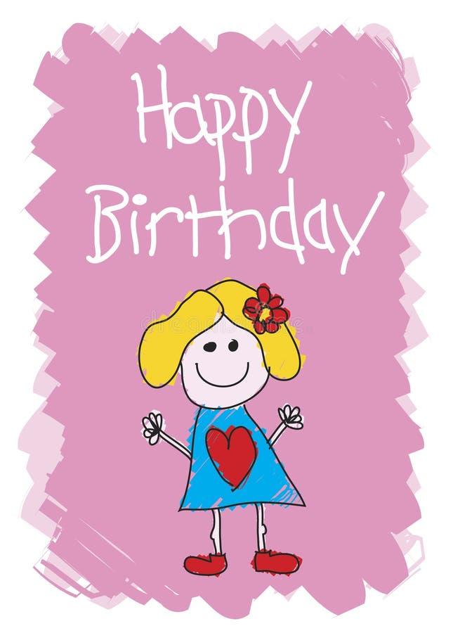 Feliz aniversario - menina ilustração royalty free