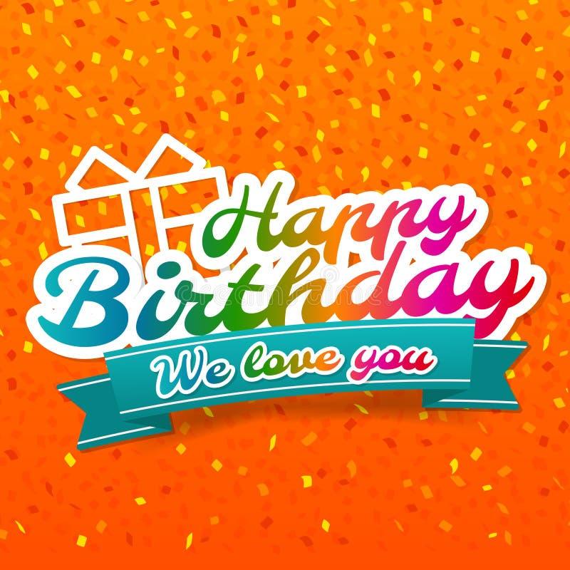 Feliz aniversario - nós amamo-lo ícone do crachá e da caixa de presente ilustração royalty free
