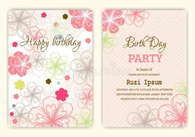 Feliz aniversario no fundo floral no tema colorido ilustração royalty free