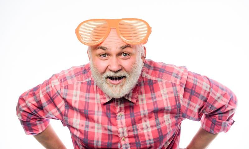 Feliz aniversario Partido incorporado anniversary Celebra??o do feriado Homem feliz com barba Partido de aposentadoria maduro imagem de stock
