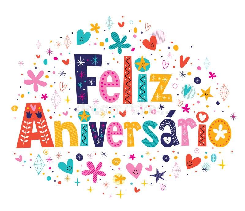 Feliz Aniversario Portuguese Happy Birthday card stock illustration