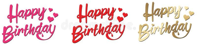 Feliz aniversario que rotula o ouro vermelho cor-de-rosa com corações ilustração royalty free