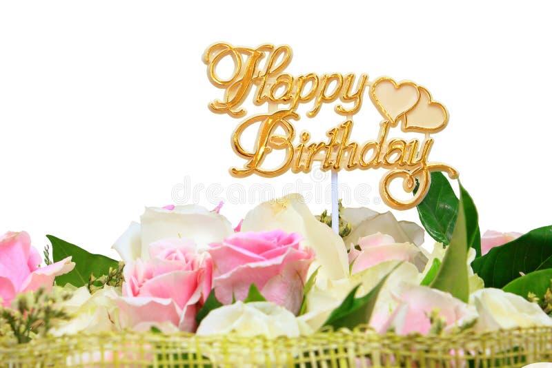 Feliz aniversario, ramalhete de flores de Rosa imagem de stock