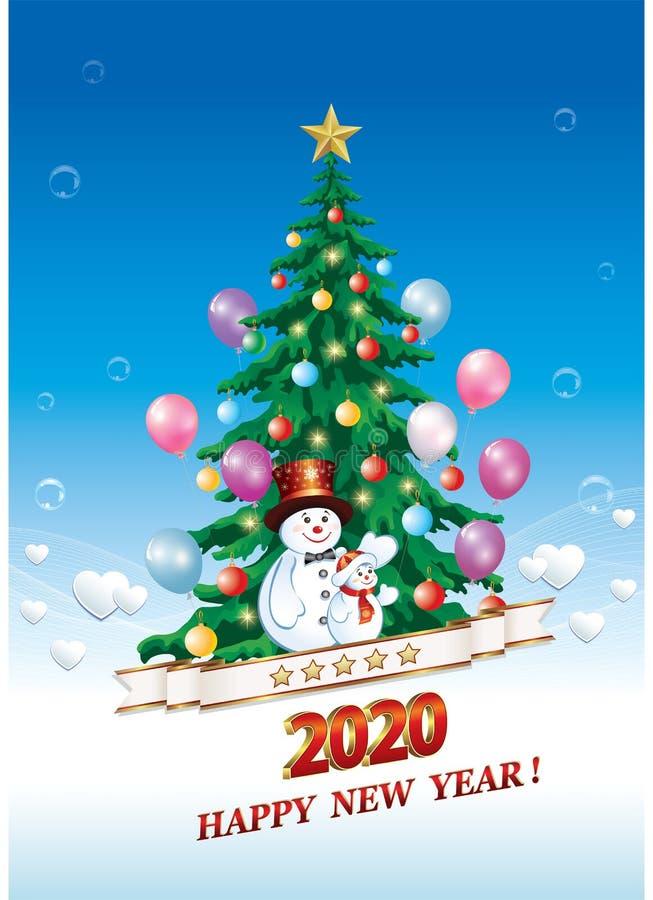 Feliz Ano Novo 2020 Cartão comemorativo com árvore de Natal e neve Ilustração vetorial ilustração royalty free