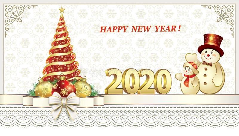 Feliz Ano Novo 2020 Cartão de saudação de design vetorial com árvore de Natal e neve ilustração do vetor