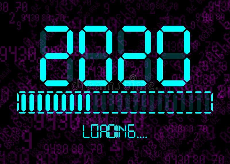 Feliz ano novo 2020 com ícone de carregamento no estilo digital neon digital de ciano plano Exibir barra de progresso quase ating ilustração stock