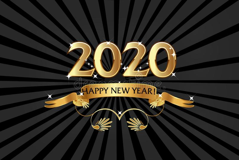 Feliz Ano Novo 2020, Fundo do Emblema Dourado ilustração stock