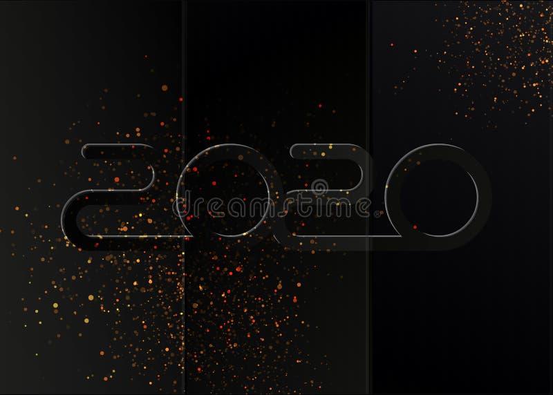 Feliz Ano Novo 2020 Ilustração de feriado vetorial Estilo preto de papel dobrado preto fundo escuro com decoração dourada por pul ilustração do vetor