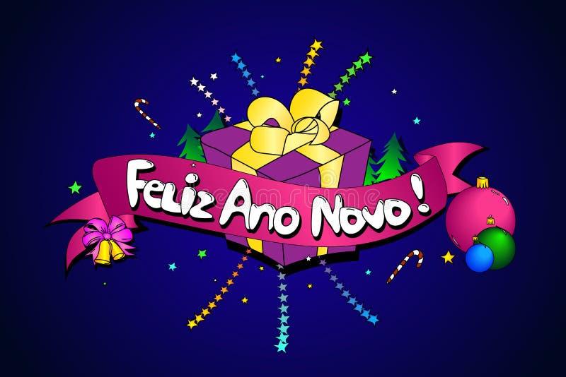 Feliz Ano Novo kreatywnie tło wektor Szczęśliwy nowy rok w Po ilustracja wektor
