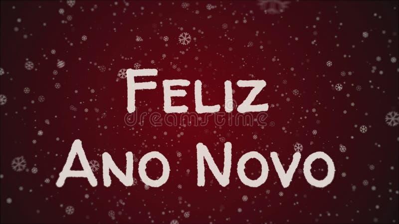 Feliz Ano Novo - ano novo feliz na língua portuguesa, cartão ilustração do vetor