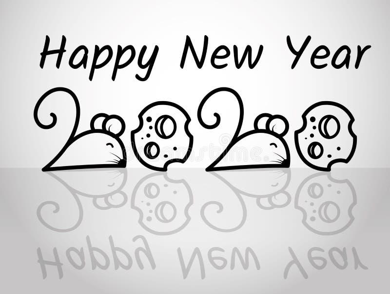 Feliz Ano Novo 2020, o rato em número 2 e o queijo em número 0 ilustração royalty free