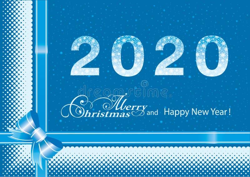 Feliz Ano Novo 2020 sobre fundo azul com flocos de neve Ilustração vetorial ilustração royalty free