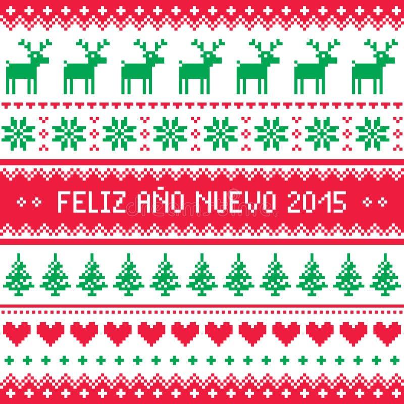 Feliz Ano Nuevo 2015 - Feliz Año Nuevo en modelo español ilustración del vector