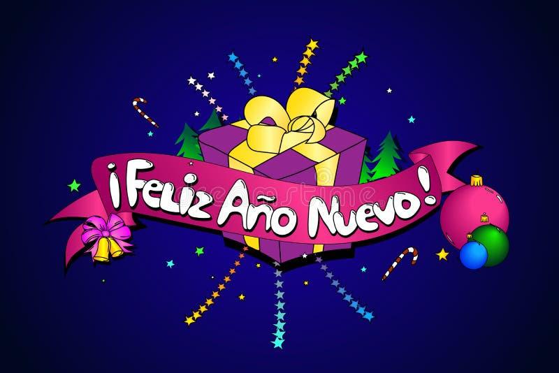 Feliz Ano Nuevo Fundo creativo do vetor Versão espanhola ilustração royalty free