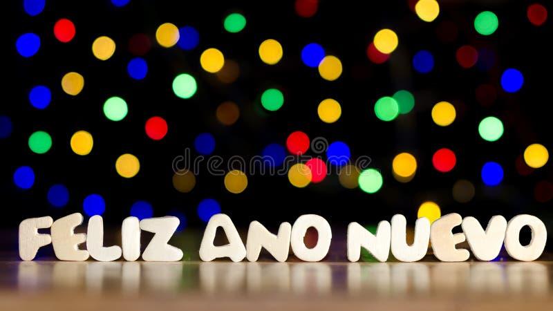 Feliz Ano Nuevo, guten Rutsch ins Neue Jahr in der spanischen Sprache stockfotos