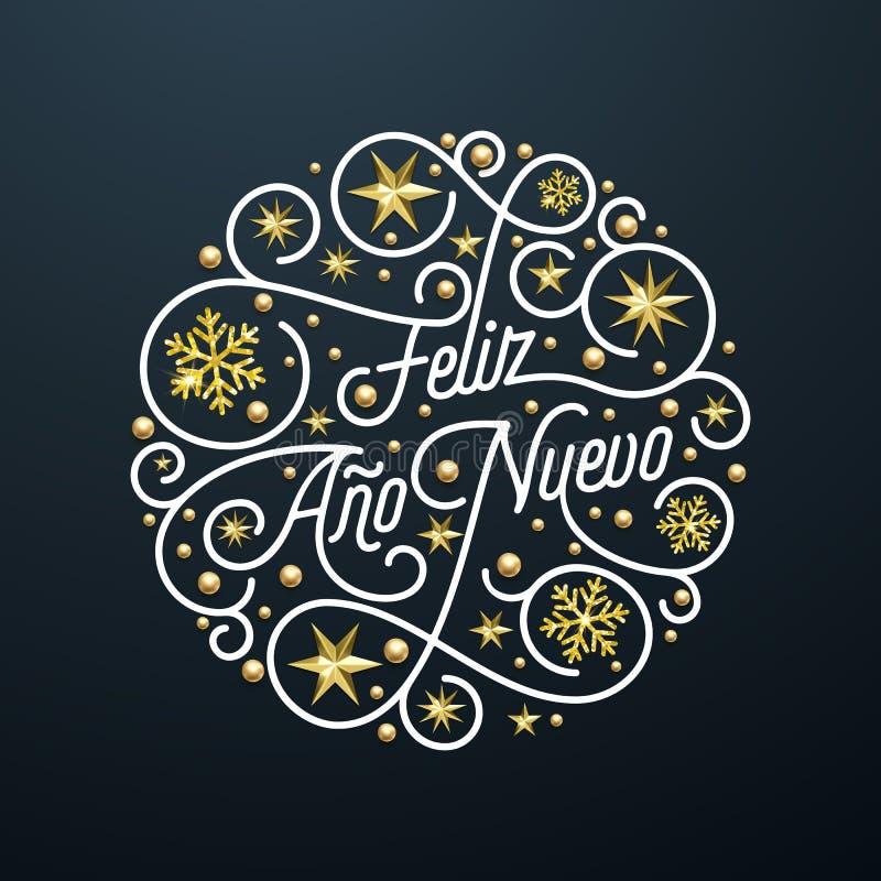 Feliz Ano Nuevo Spanish Happy New Year Navidad calligraphy lettering, golden snowflake star pattern decoration on white background vector illustration