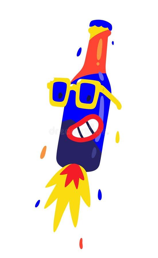 Feliz botella en vidrios amarillos Carácter plano del vector para los proyectos de diseño La imagen se aísla en el fondo blanco I ilustración del vector
