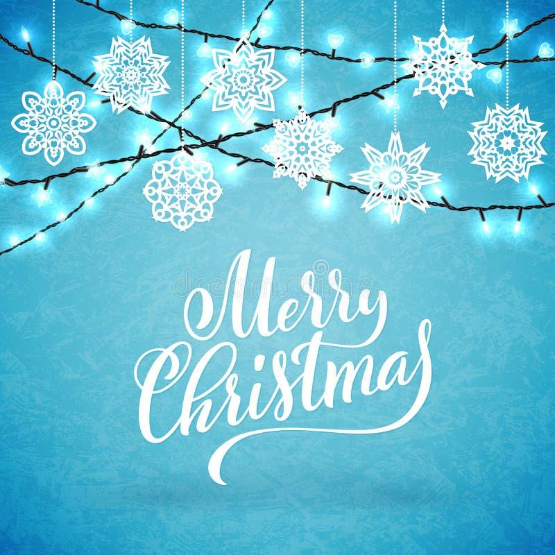 Feliz cartel de la fiesta de Navidad con las letras a mano Plantilla del diseño para el partido de Navidad Vector libre illustration
