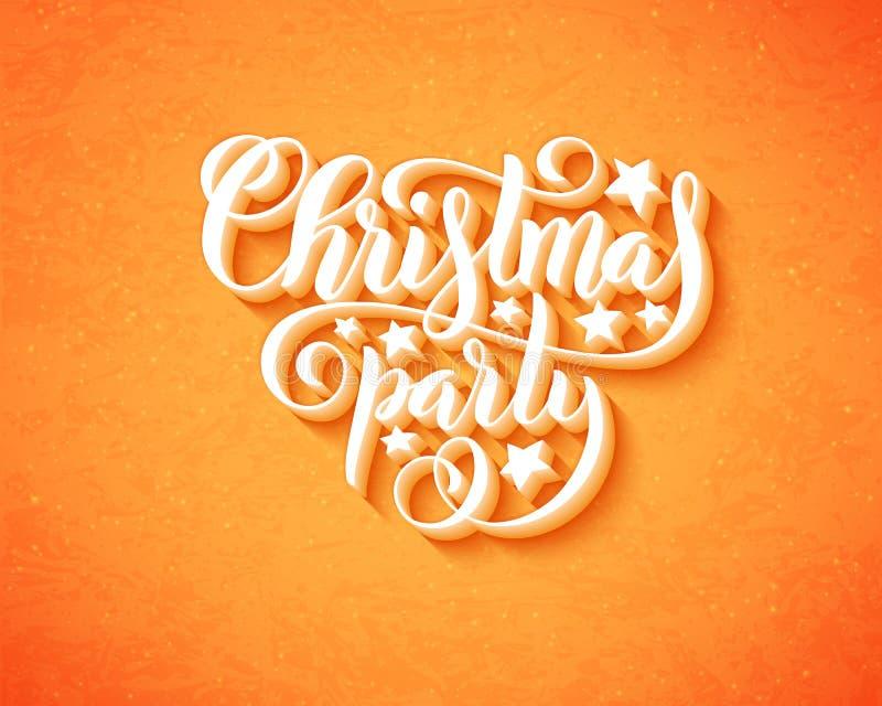 Feliz cartel de la fiesta de Navidad con las letras a mano Plantilla del diseño para el partido de Navidad Vector stock de ilustración