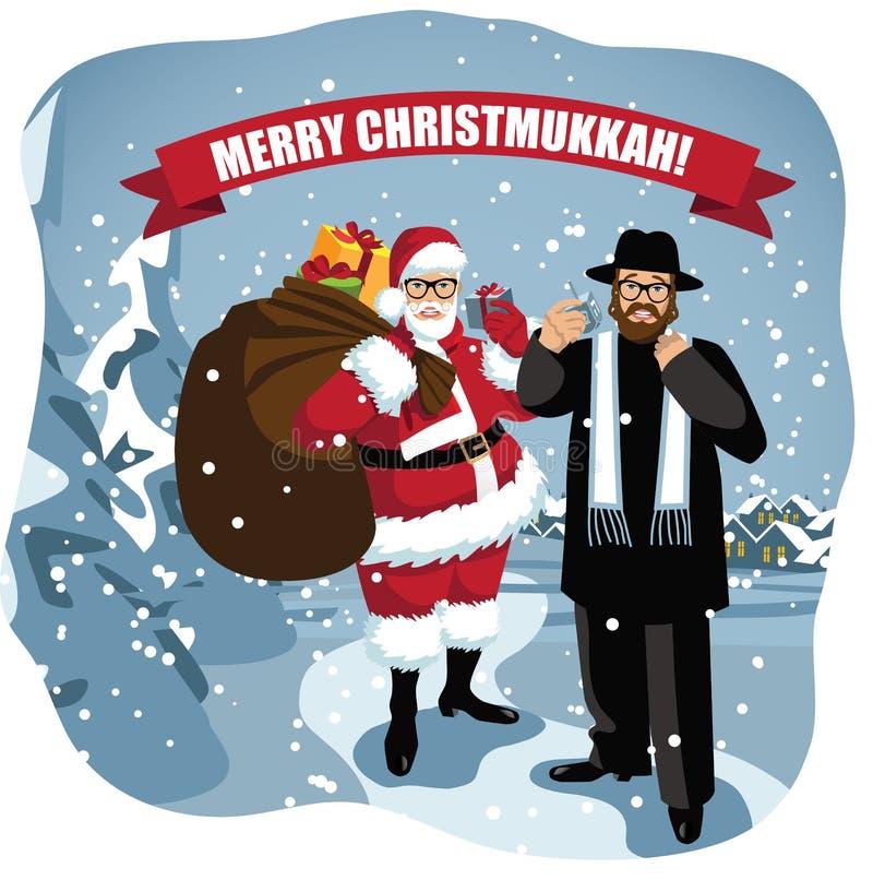 Feliz Christmukkah Papá Noel y rabino en escena nevosa libre illustration