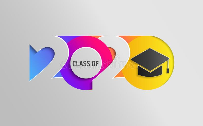 Feliz Classe de 2020, faixa de cor da graduação ilustração royalty free
