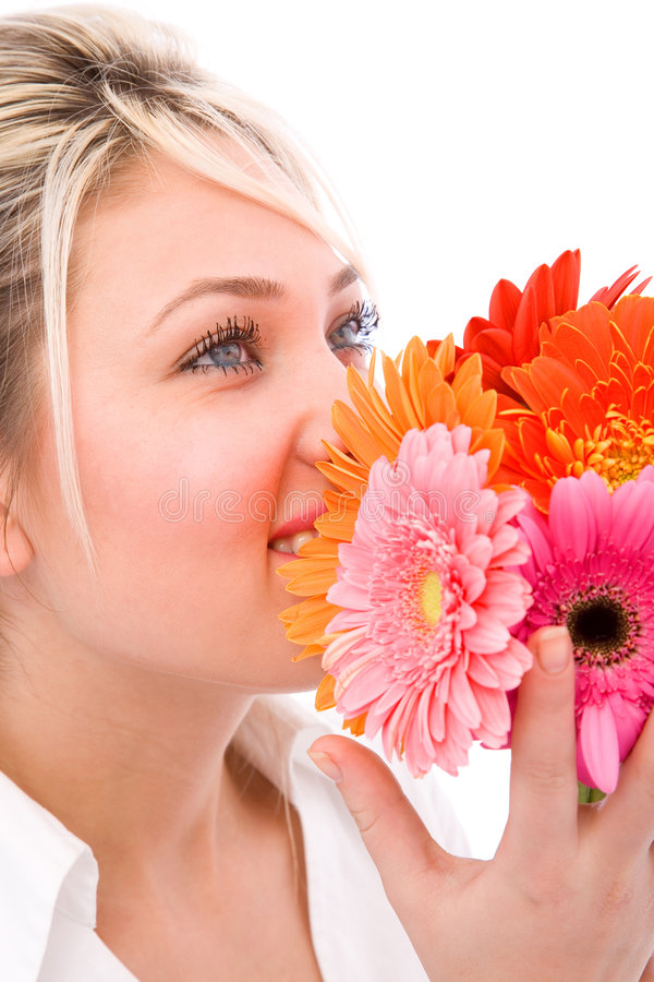 Feliz com flores foto de stock